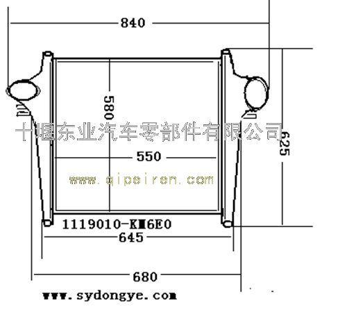 东风天锦220马力中冷器,安装图纸,点击放大!1119010-km6e0